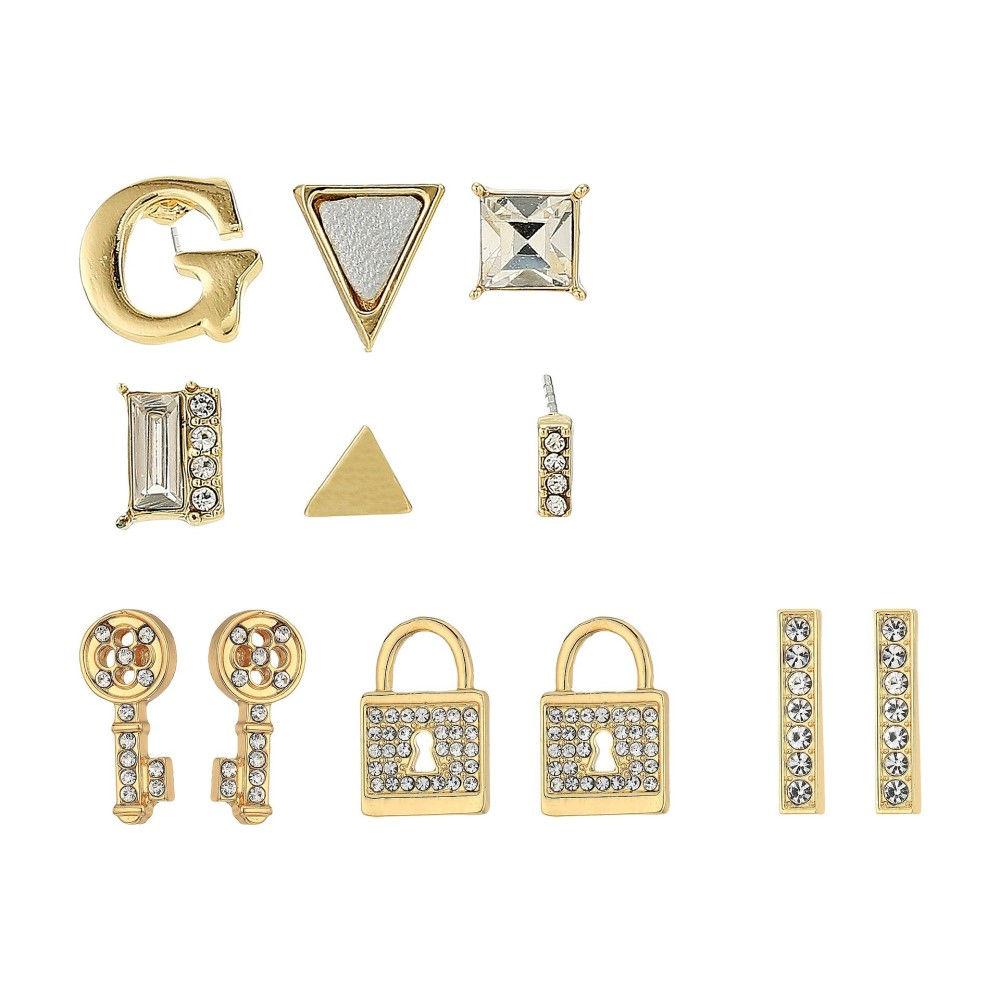 ゲス レディース ジュエリー・アクセサリー イヤリング・ピアス【9 Set Mixed Earrings - Studs, Logo, Lock, Key】Gold/Crystal/Metallic Silver