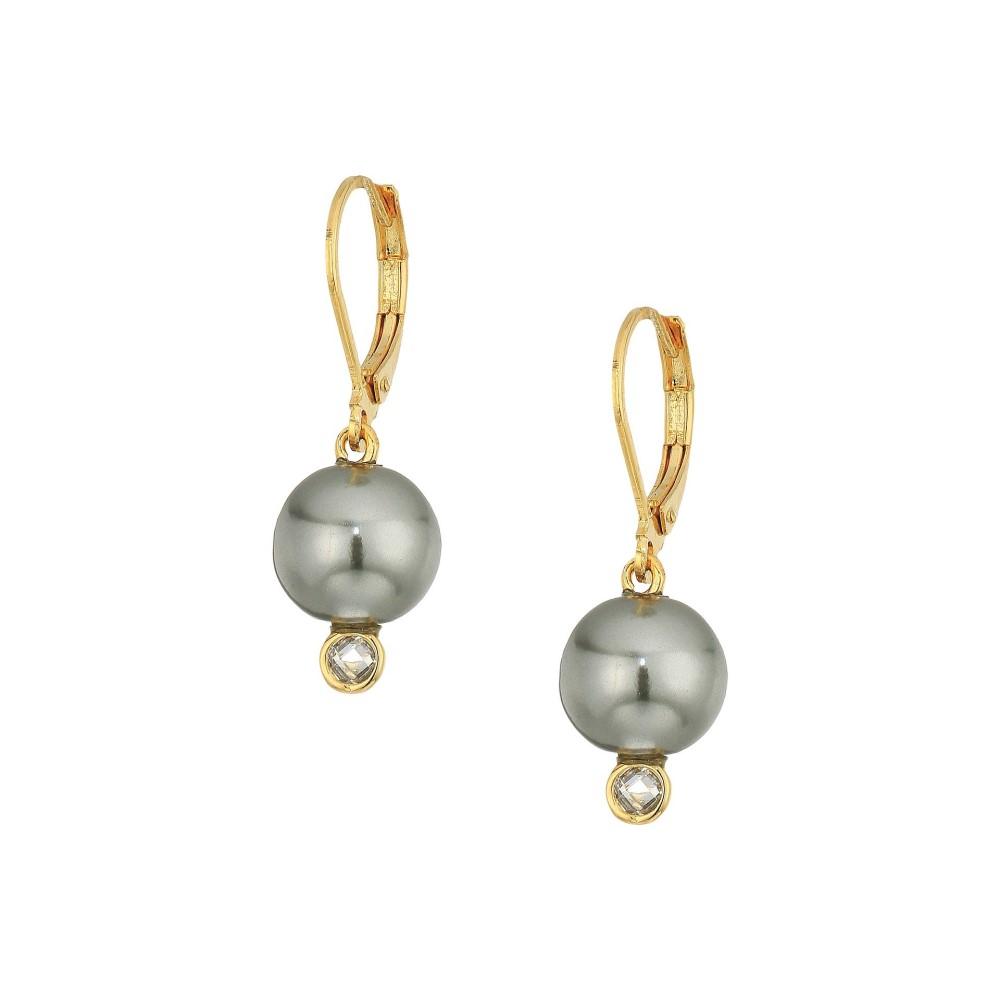 コールハーン レディース ジュエリー・アクセサリー イヤリング・ピアス【Pearl Drop Earrings with Cubic Zirconia Accents Lever Back Closure】Gold/Clear Cubic Zirconia/Dark Grey Glass Pearl
