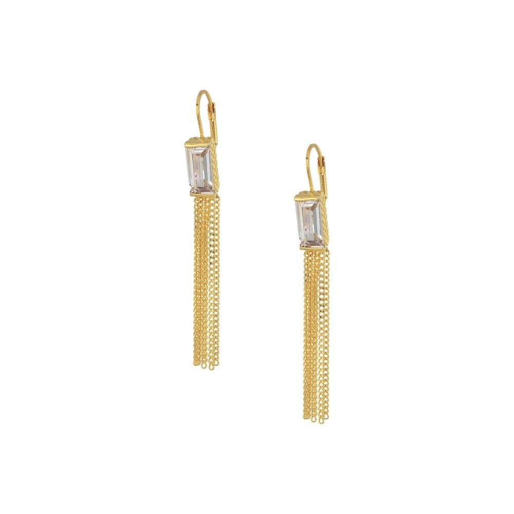 コールハーン レディース ジュエリー・アクセサリー イヤリング・ピアス【Baguette Lever Drop Tassel Earrings】Gold/Clear Cubic Zirconia