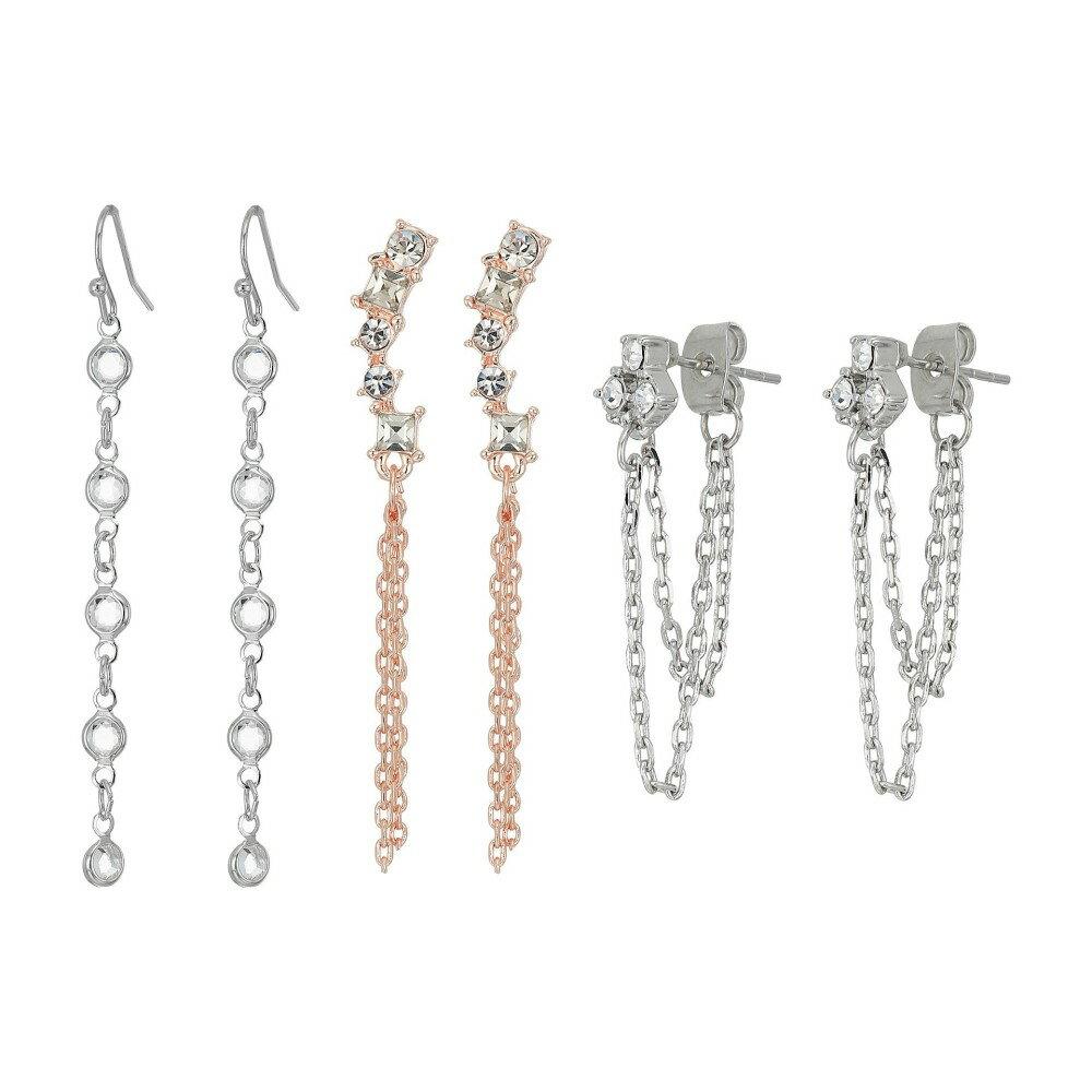 ゲス レディース ジュエリー・アクセサリー イヤリング・ピアス【9-Pair Mixed Studs and Mini Drops Earrings】Silver/Rose Gold/Crystal