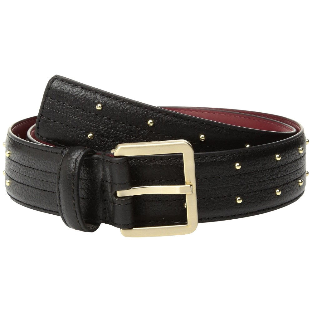 カルバンクライン レディース ベルト【35mm Stitched Edge Strap w/ Seam and Pin Dot Stud Belt】Black