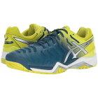 アシックス メンズ テニス シューズ・靴【Gel-Resolution 7】Ink Blue/Sulphur Spring/White