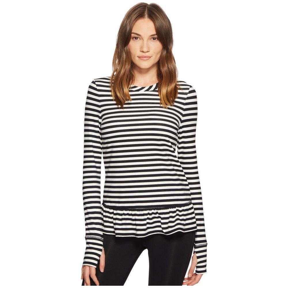 ケイト スペード レディース トップス Tシャツ【Stripe Ruffle Pullover】Black/Cream
