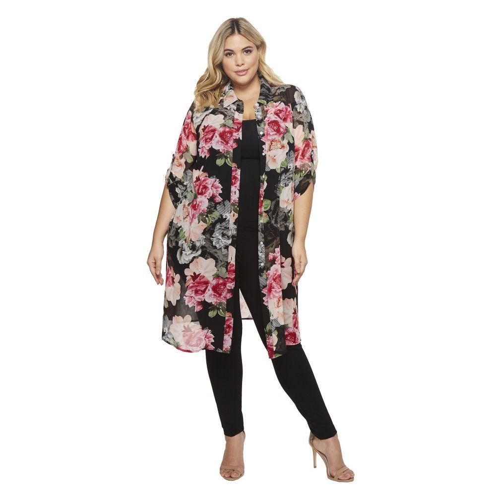 カルバンクライン レディース ワンピース・ドレス ワンピース【Plus Size Roll Sleeve Long Printed Tunic】Black Floral