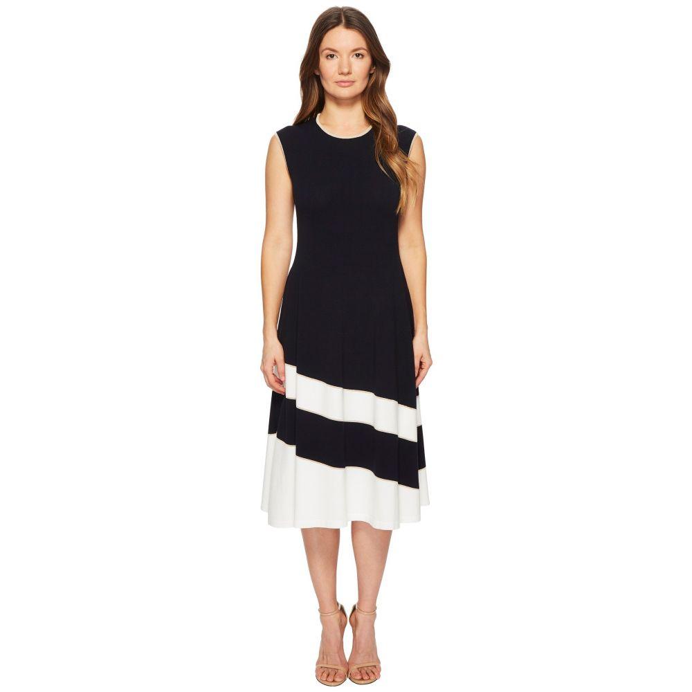 エスカーダ レディース ワンピース・ドレス ワンピース【Dariar Sleeveless Asymmetrical Stripe Midi Knit Dress】Navy