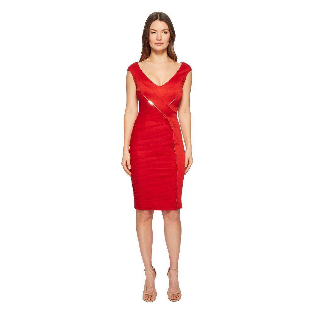 ヴェルサーチ レディース ワンピース・ドレス ワンピース【Abito Donna Asymmetrical Zip Sheath Dress】Rosso