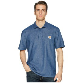 カーハート メンズ トップス ポロシャツ【Contractors Work Pocket Polo】Dark Cobalt Blue Heather
