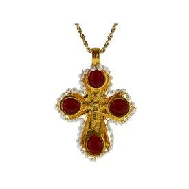 ケネスジェイレーン Kenneth Jay Lane レディース ジュエリー・アクセサリー ネックレス【Red Opal/Pearl Cross on Gold Chain】Red