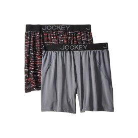 ジョッキー Jockey メンズ インナー・下着 ボクサーパンツ【No Bunch Boxer Synthetic 2-Pack】Painterly Stripe Grey/Lantern Grey