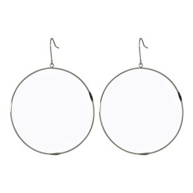フレンチコネクション French Connection レディース ジュエリー・アクセサリー イヤリング・ピアス【Large Flattened Hoop Earrings】Rhodium