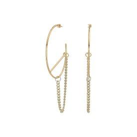 フレンチコネクション French Connection レディース ジュエリー・アクセサリー イヤリング・ピアス【Large Hoop with Chain Earrings】Gold