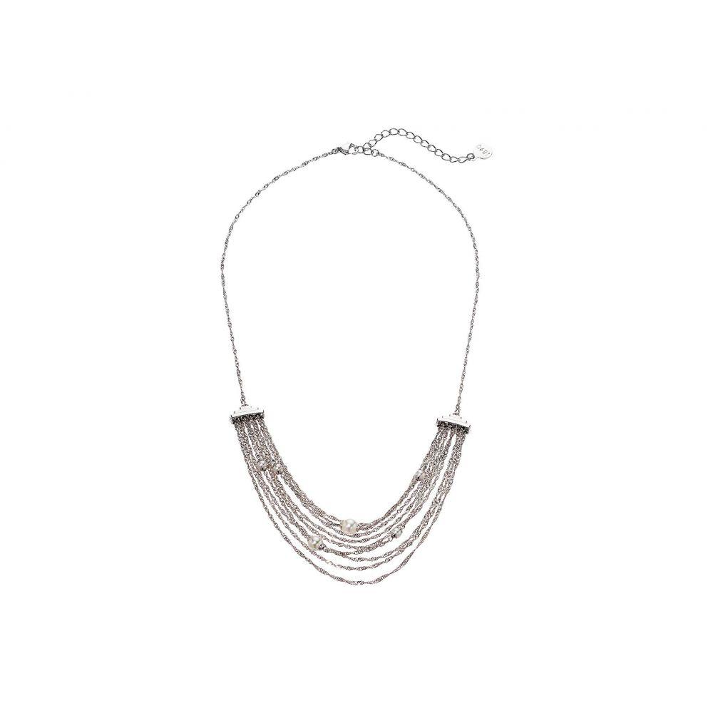 マジョリカ Majorica レディース ジュエリー・アクセサリー ネックレス【Gatsby 4/6 mm Round Pearls on Multi-Chains Steel 16-18' Necklace】White