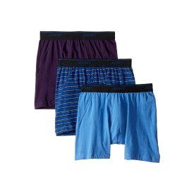ジョッキー Jockey メンズ インナー・下着 ボクサーパンツ【Essential Fit Max Stretch Boxer Brief 3-Pack】Regal Wine/New York Stripe Blue/Forget Me Not