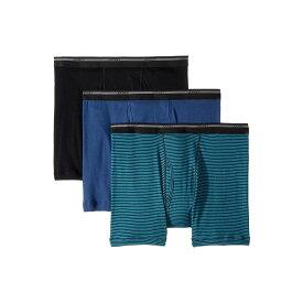 ジョッキー Jockey メンズ インナー・下着 ボクサーパンツ【100% Cotton Classic Knits Full Rise Boxer Brief 3-Pack】Black/Suitable Stripe Teal/Rich Blue