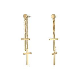 ゲス GUESS レディース ジュエリー・アクセサリー イヤリング・ピアス【Clean Cross Front To Back Earrings】Gold