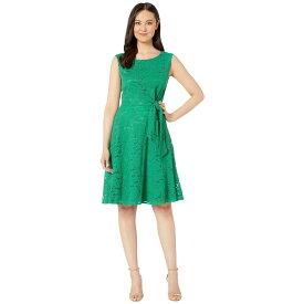 タハリ Tahari by ASL レディース ワンピース・ドレス ワンピース【Stretch Lace Side Tie Fit and Flare Dress】Tropical Green