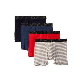 ジョッキー Jockey メンズ インナー・下着 ボクサーパンツ【Active Blend Boxer Brief 4-Pack】Quartz Grey Stripe/Rough Sea Blue/Racing Red/Navy Heather