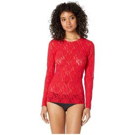 ハンキーパンキー Hanky Panky レディース ブラウス・シャツ トップス【Signature Lace Unlined Long Sleeve Top】Red