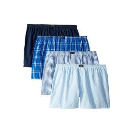 ジョッキー Jockey メンズ ボクサーパンツ 4点セット インナー・下着【Active Blend Woven Boxer 4-Pack】Blue Plaid/Small Plaid/Navy/Stripe