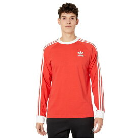 アディダス adidas Originals メンズ 長袖Tシャツ トップス【3-Stripes Long Sleeve Tee】Lush Red