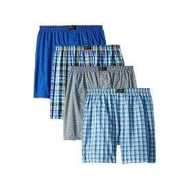 ジョッキー Jockey メンズ ボクサーパンツ 4点セット インナー・下着【Active Blend Woven Boxer 4-Pack】Daring Plaid/Shy Stripe/Clever Plaid/Stripe Silver