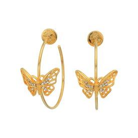 ケネスジェイレーン Kenneth Jay Lane レディース イヤリング・ピアス ジュエリー・アクセサリー【Gold w/ Crystal Butterfly Medium Hoop Pierced Earrings】