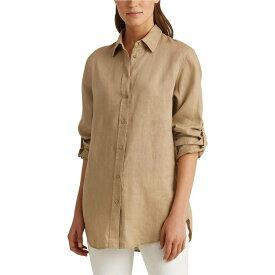 ラルフ ローレン LAUREN Ralph Lauren レディース ブラウス・シャツ トップス【Roll-Tab-Sleeve Linen Shirt】Spring Khaki