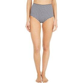 ジェイクルー J.Crew レディース ボトムのみ 水着・ビーチウェア【High-Waisted Bikini Bottoms in Matte Gingham】Prospect Gingham Black/Ivory