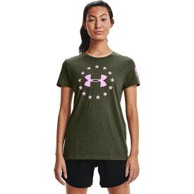 アンダーアーマー Under Armour レディース Tシャツ トップス【Freedom Logo T-Shirt】Marine OD Green/Stellar Pink