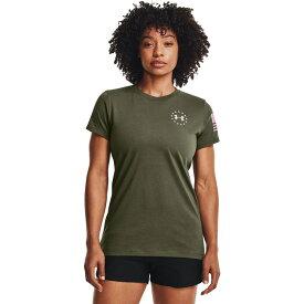 アンダーアーマー Under Armour レディース Tシャツ トップス【Freedom Banner T-Shirt】Marine OD Green/Stellar Pink