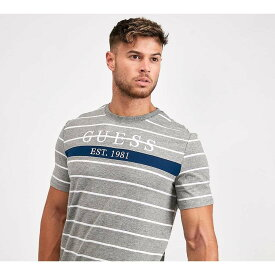 ゲス Guess メンズ Tシャツ トップス【theo stripe t-shirt】Grey Heather/Blue