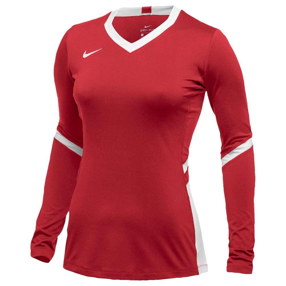 ナイキ レディース バレーボール トップス【Nike Team Hyperace Long Sleeve Game Jersey】Scarlet/White