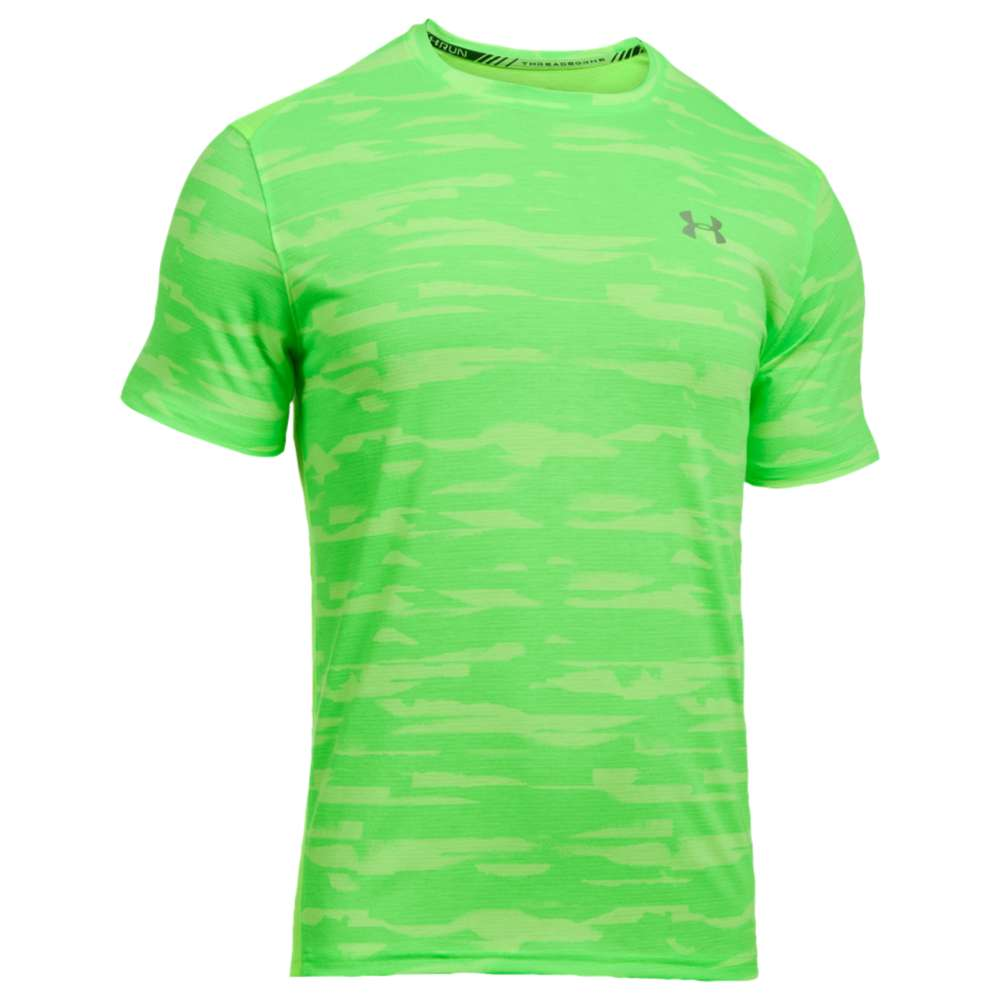 アンダーアーマー メンズ トップス Tシャツ【Under Armour Threadborne Run Mesh Short Sleeve T-Shirt】Quirky Lime/Quirky Lime/Reflective