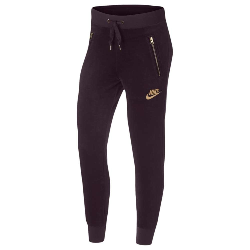 ナイキ レディース ボトムス・パンツ【Nike Velour Pants】Port Wine/Metallic Gold