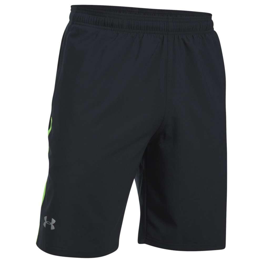 """アンダーアーマー メンズ ランニング・ウォーキング ボトムス・パンツ【Under Armour 9"""" Launch Stretch Woven Run Shorts】Black/Quirky Lime/Reflective"""