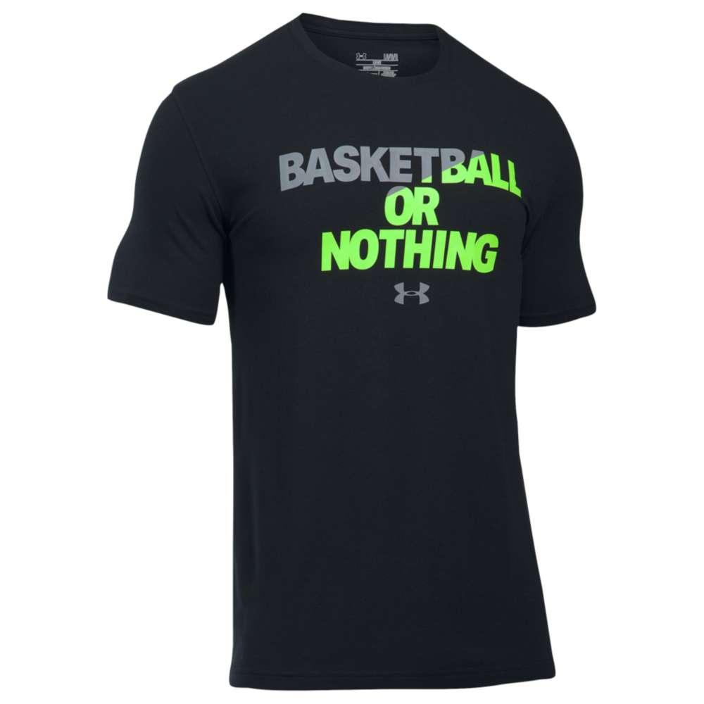 アンダーアーマー メンズ トップス Tシャツ【Under Armour Basketball Or Nothing T-Shirt】Black/Quirky Lime/Steel