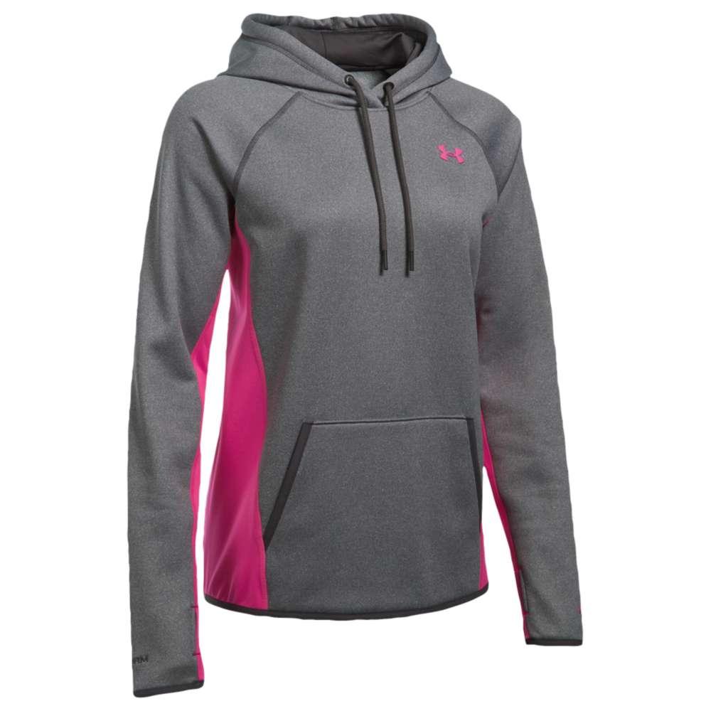 アンダーアーマー レディース トップス パーカー【Under Armour Armour Fleece Icon Hoodie】Carbon Heather/Tropic Pink