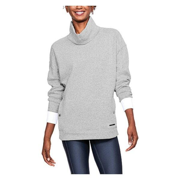 アンダーアーマー レディース トップス スウェット・トレーナー【Under Armour ColdGear Infrared Sweater Fleece Funnel】True Grey Heather/White/Black