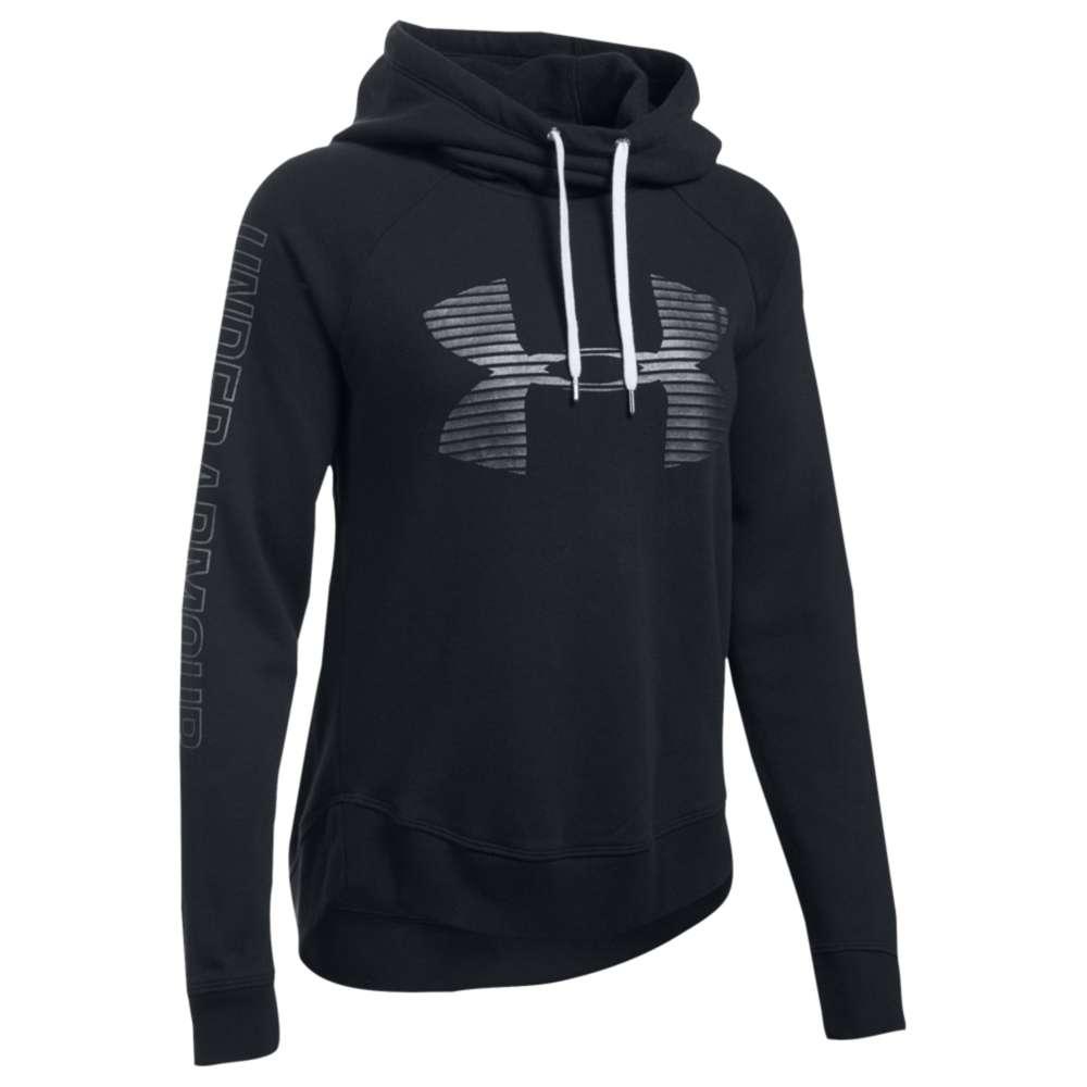 アンダーアーマー レディース トップス パーカー【Favorite Metallic Logo Hoodie】Black