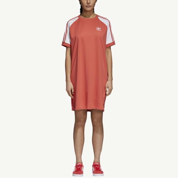 アディダス レディース ワンピース・ドレス ワンピース【Adicolor 3-Stripe Raglan Dress】Trace Scarlet/White