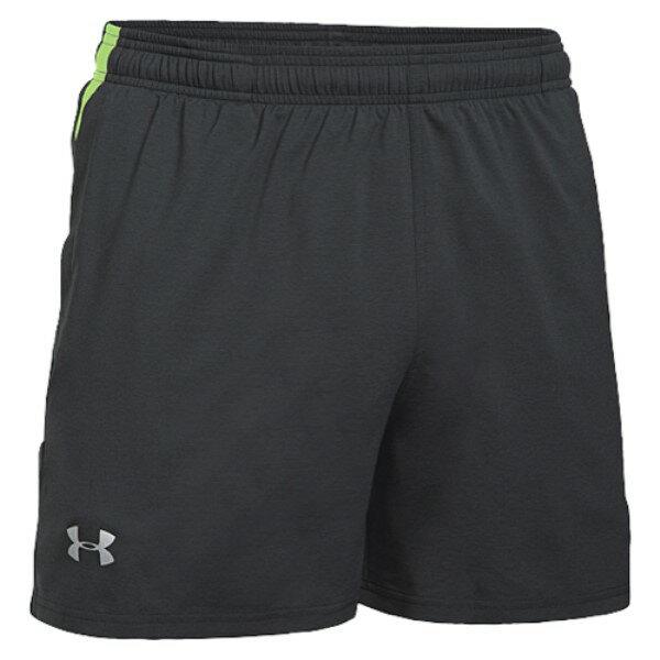 """アンダーアーマー メンズ ランニング・ウォーキング ボトムス・パンツ【5"""" Launch Stretch Woven Run Shorts】Black/Quirky Lime/Reflective"""