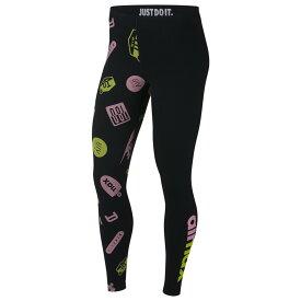 ナイキ Nike レディース インナー・下着 スパッツ・レギンス【Air Max Logo Leggings】Black/Pink Rise/Cyber
