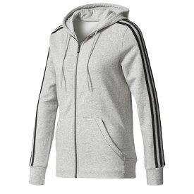 アディダス adidas Athletics レディース パーカー トップス【3-stripes cotton full-zip hoodie】Medium Grey Heather
