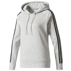 アディダス adidas Athletics レディース パーカー トップス【3-Stripes Cotton Hoodie】Medium Grey Heather