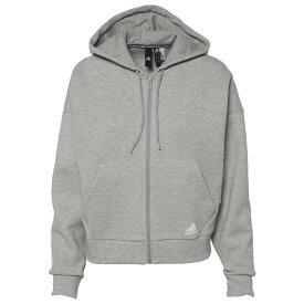 アディダス adidas Athletics レディース パーカー トップス【Must Have 3 Stripe Full-Zip Hoodie】Medium Grey Heather/White