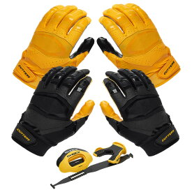 カッターズ Cutters ユニセックス アメリカンフットボール 【Rev Pro 3.0 Solid Flip Combo Pack】Gold/Black Includes Sets of Receiver Gloves and Mouthguard