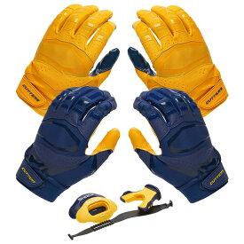 カッターズ Cutters ユニセックス アメリカンフットボール 【Rev Pro 3.0 Solid Flip Combo Pack】Navy/Gold Includes Sets of Receiver Gloves and Mouthguard