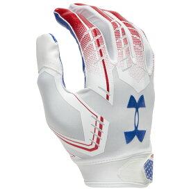 アンダーアーマー Under Armour メンズ アメリカンフットボール レシーバーグローブ グローブ【F6 Receiver Gloves】White/Midnight Navy/Red USA