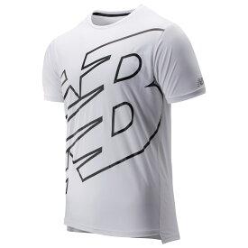 ニューバランス New Balance メンズ ランニング・ウォーキング トップス【Accelerate Short Sleeve T-Shirt】White/Black Print