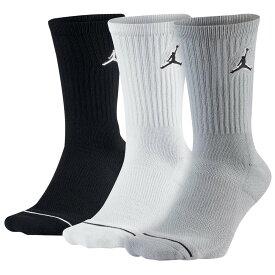 ナイキ ジョーダン Jordan ユニセックス バスケットボール 3点セット ジャンプマン【Jumpman Crew 3 Pack Socks】Black/White/Wolf Grey